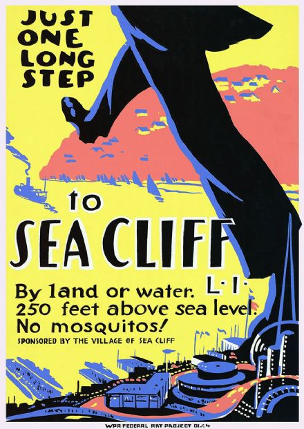 Just One Long Step to Sea Cliff, Long Island, New York. Vintage USA Travel Print.  (002708)